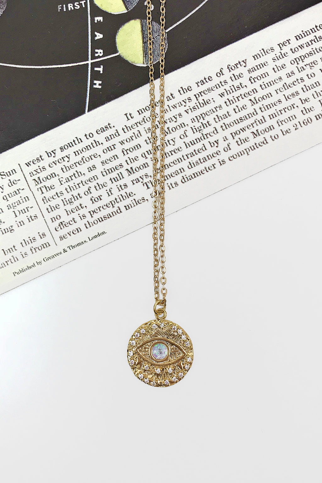 Opal disc evil eye necklace