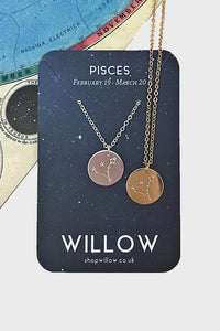 Pisces constellation disc necklace
