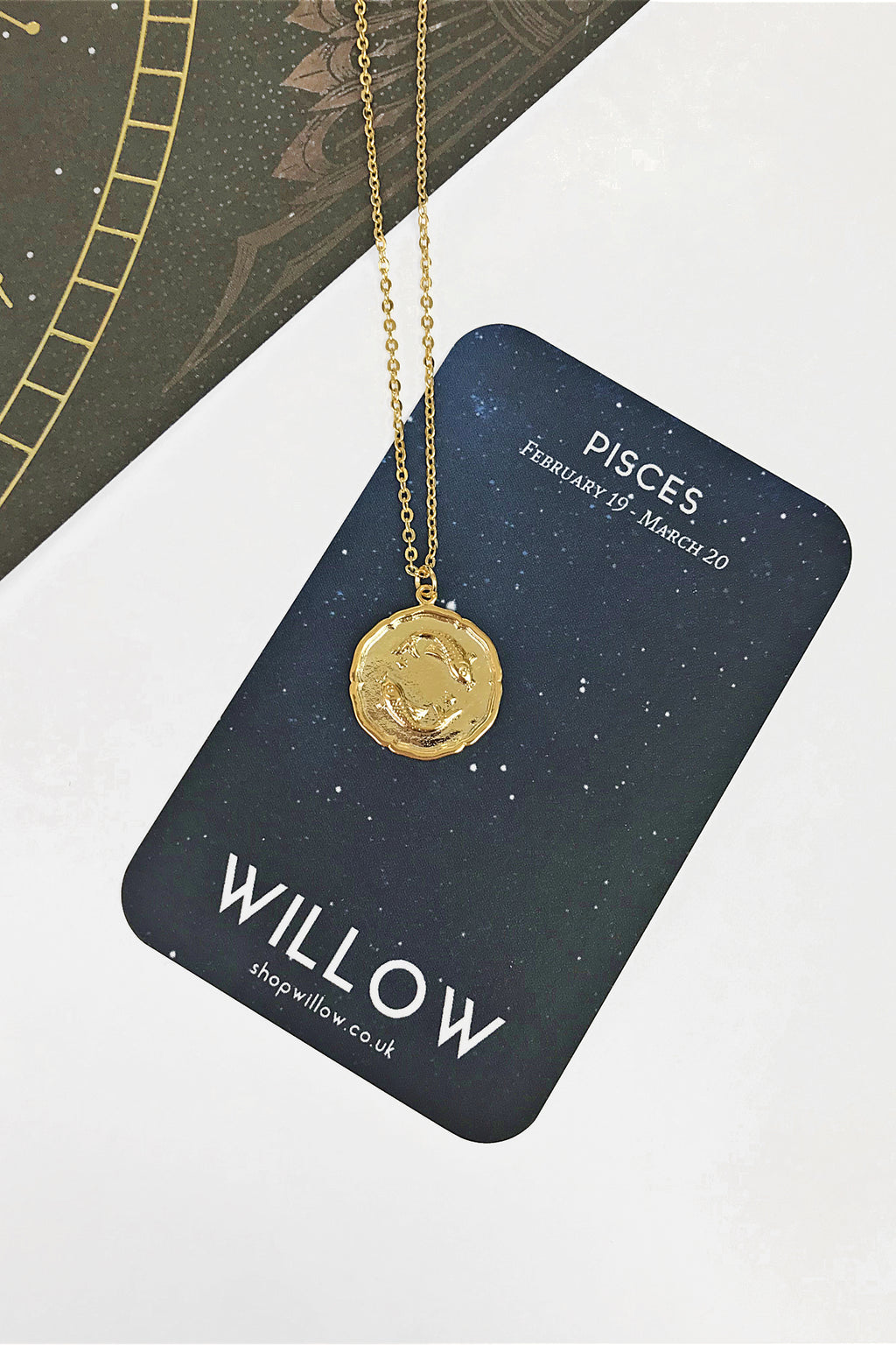 Pisces vintage coin necklace
