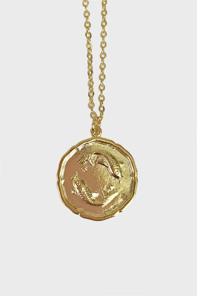 pisces vintage medallion layering necklace