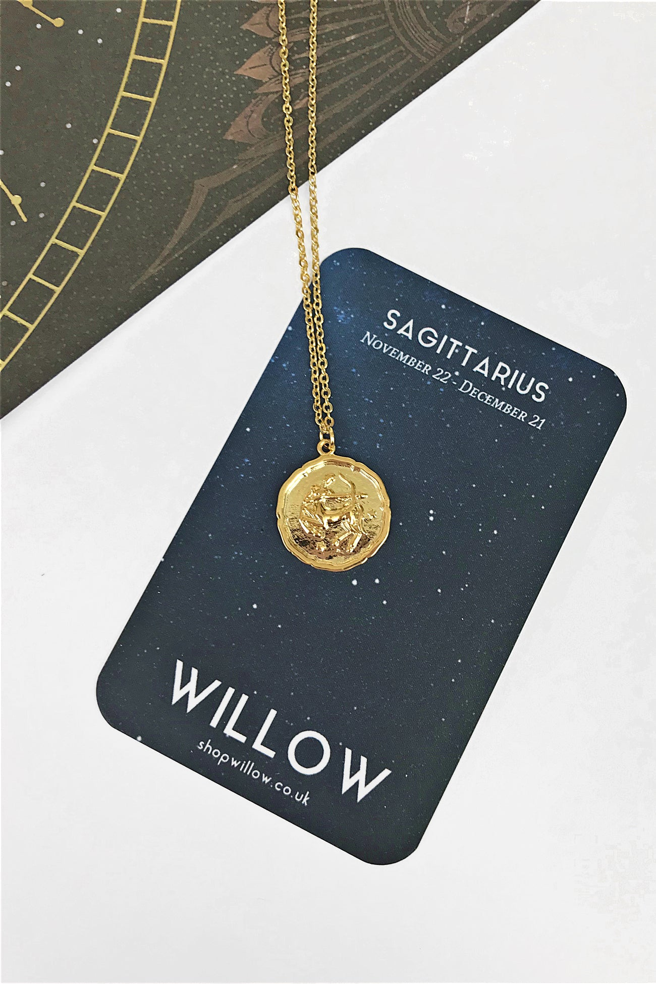 Sagittarius vintage medallion necklace