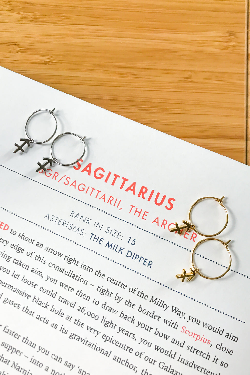 Sagittarius mini hoop earrings