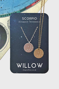Scorpio constellation disc necklace