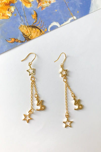star sign star chain drop earrings