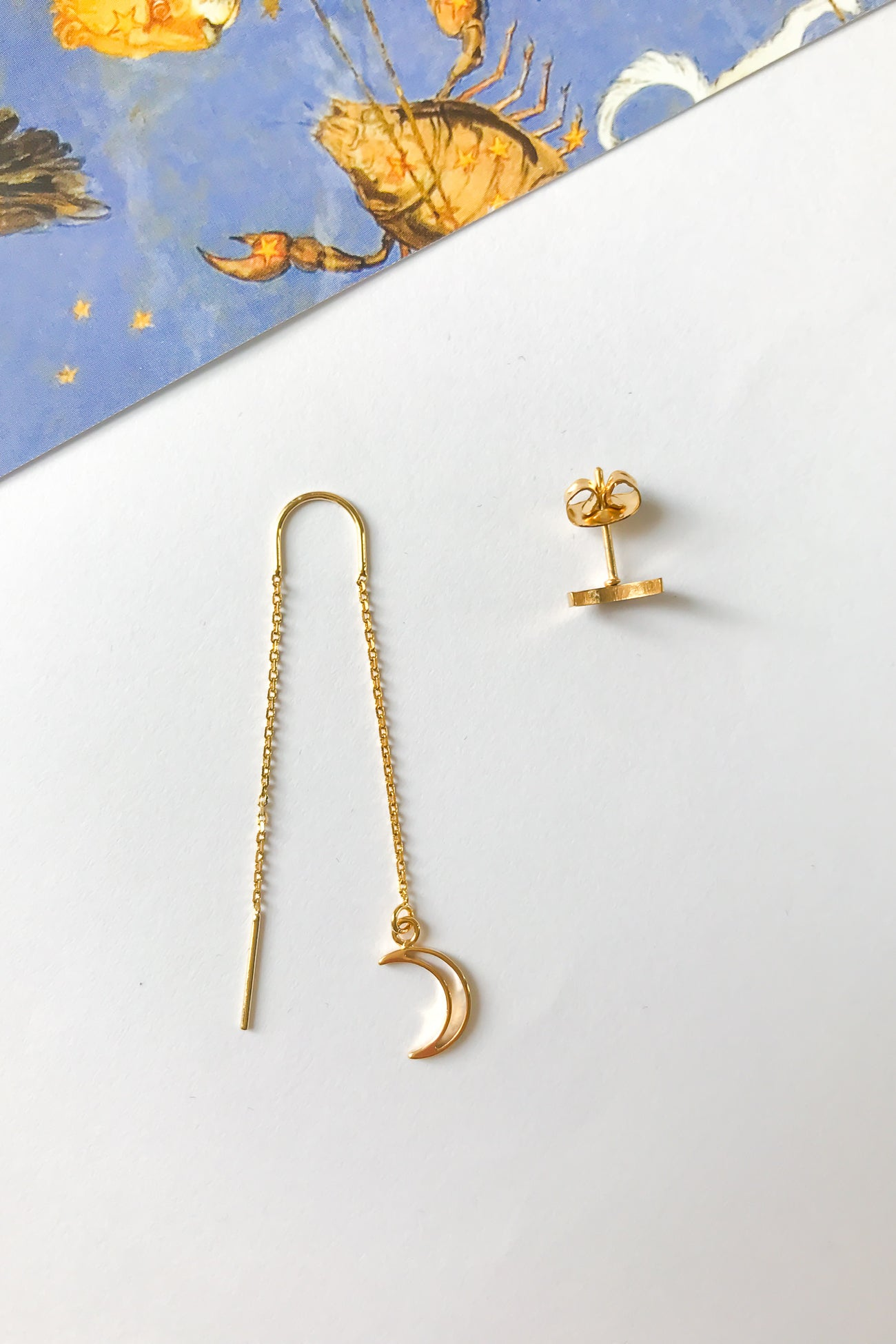 Moon threader earrings