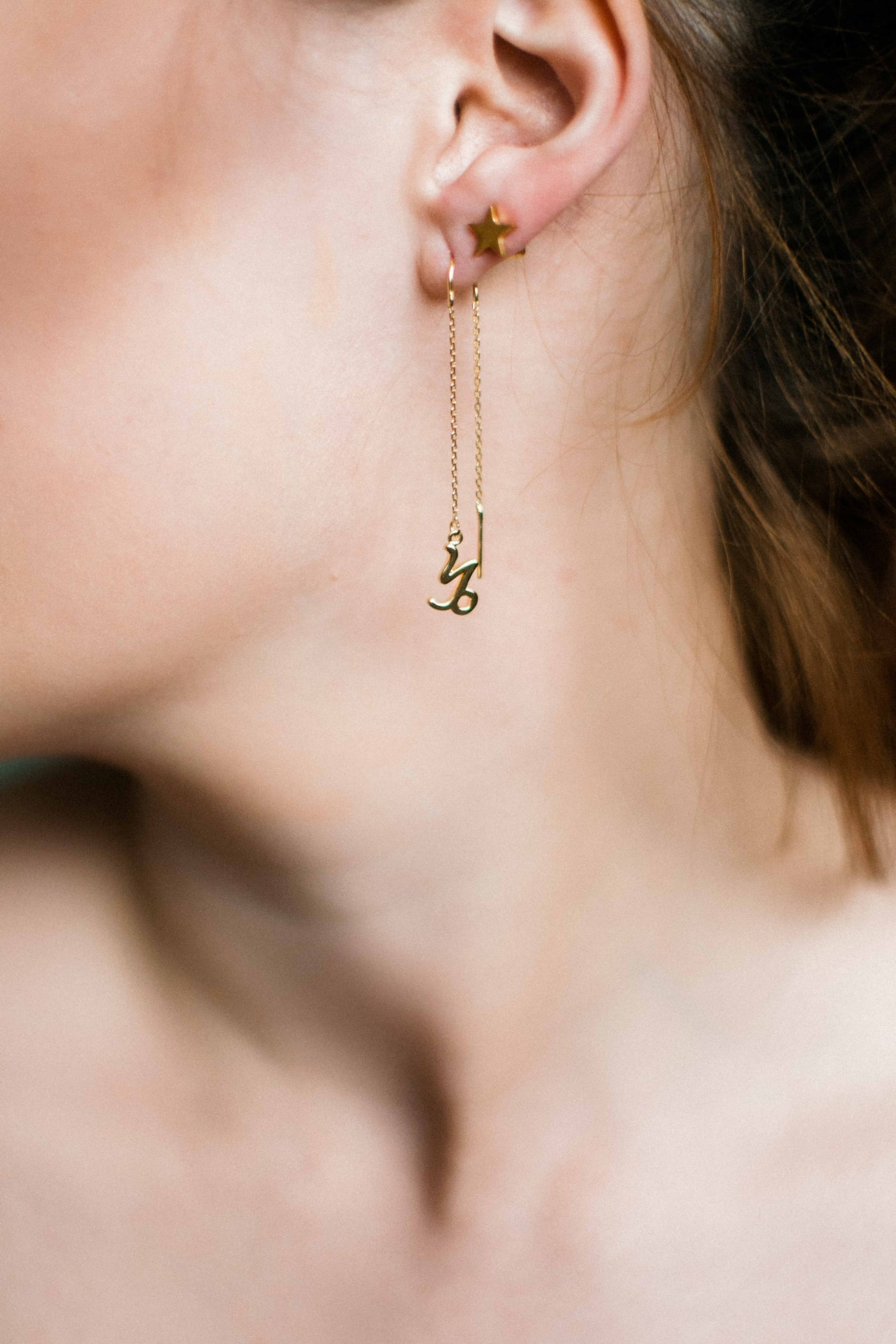 Star sign threader earrings