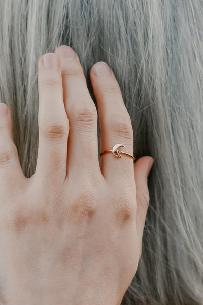 tiny crescent moon stacking ring