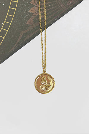 Virgo vintage medallion necklace