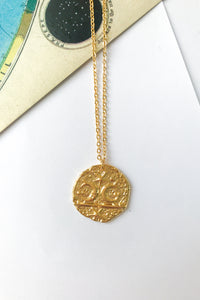 Celestial antique medallion necklace