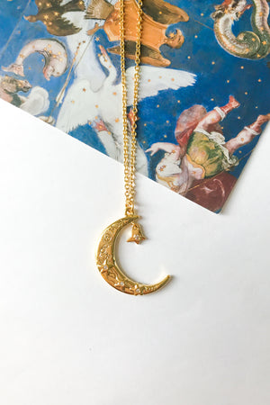 Crescent moon + star necklace