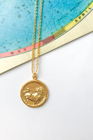 Lion antique medallion necklace