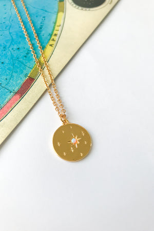 Opal starry night pendant necklace