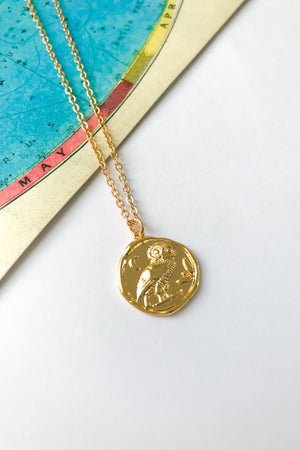 Owl antique coin necklace
