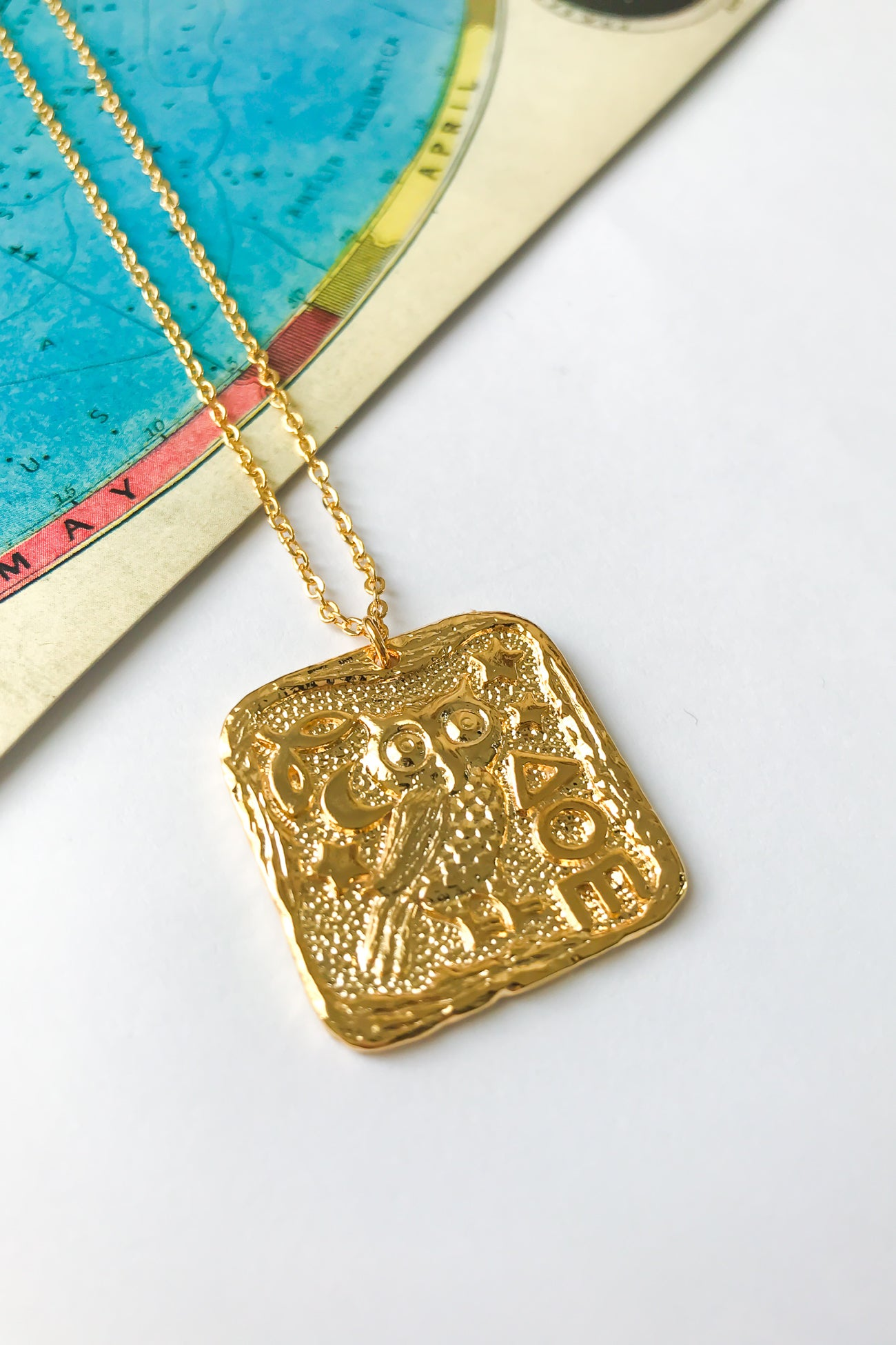 Owl antique rectangle necklace