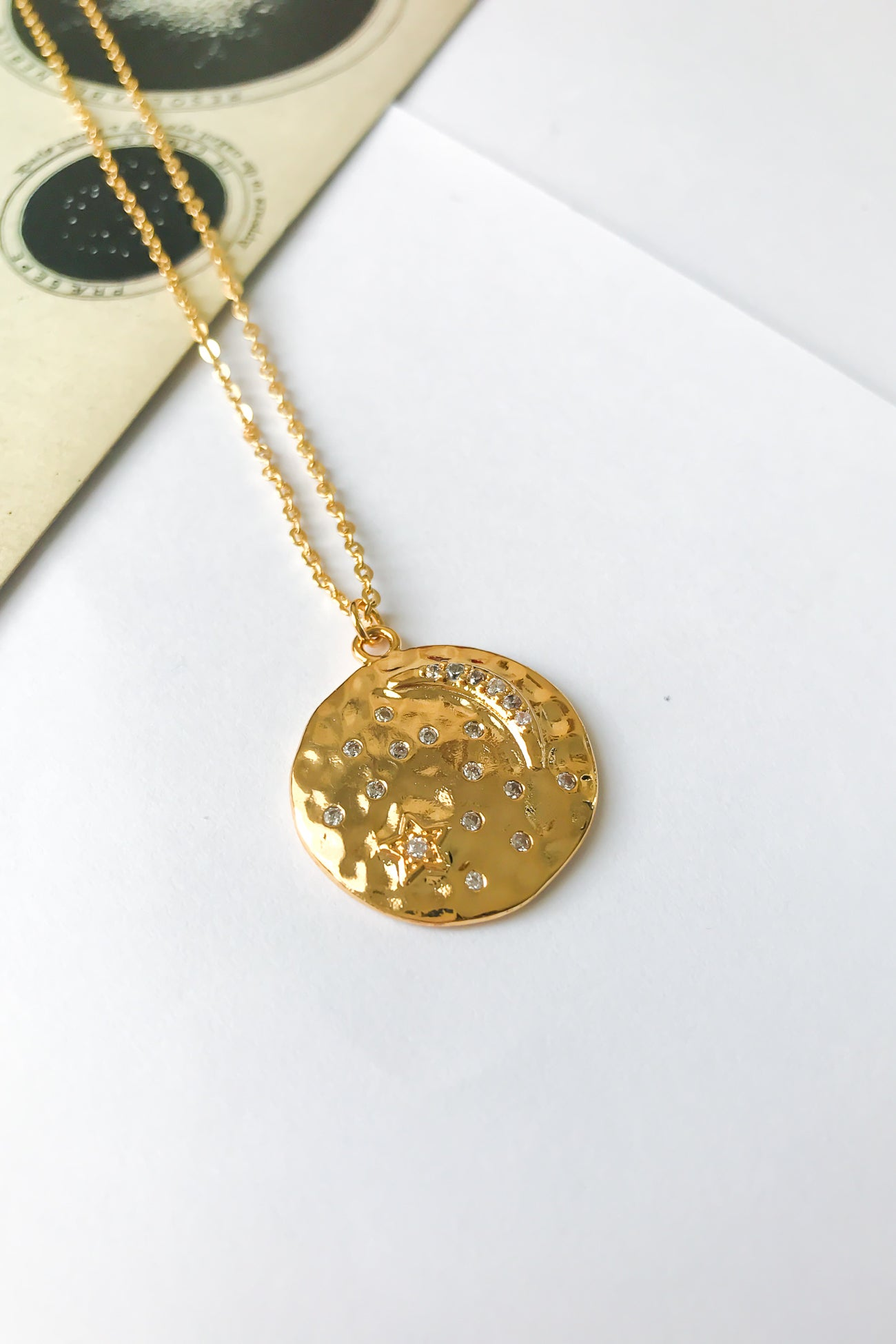 Star and moon hammered disc necklace
