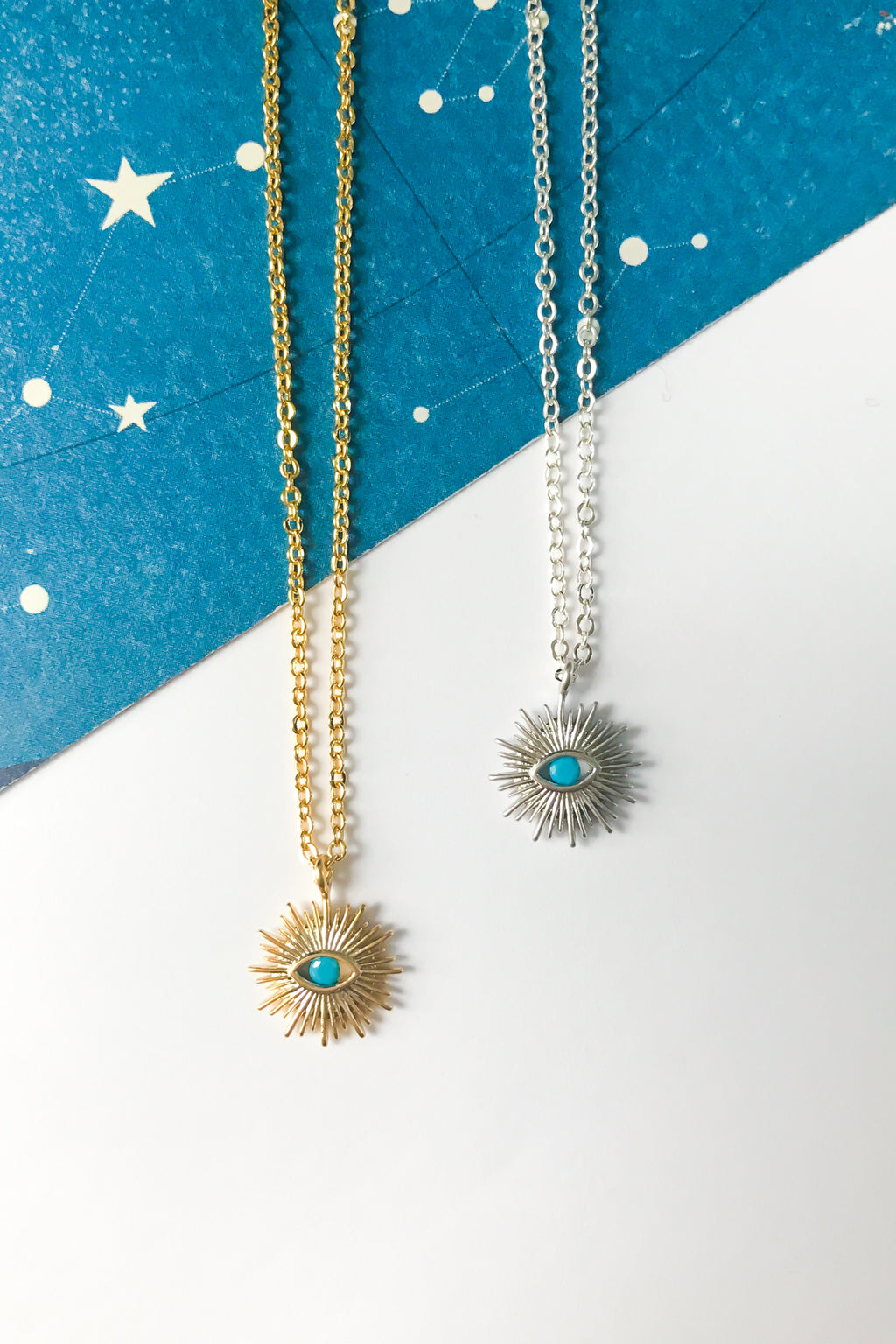 Sunburst evil eye necklace