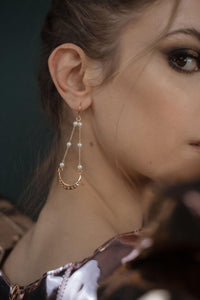 Moon phase statement earrings