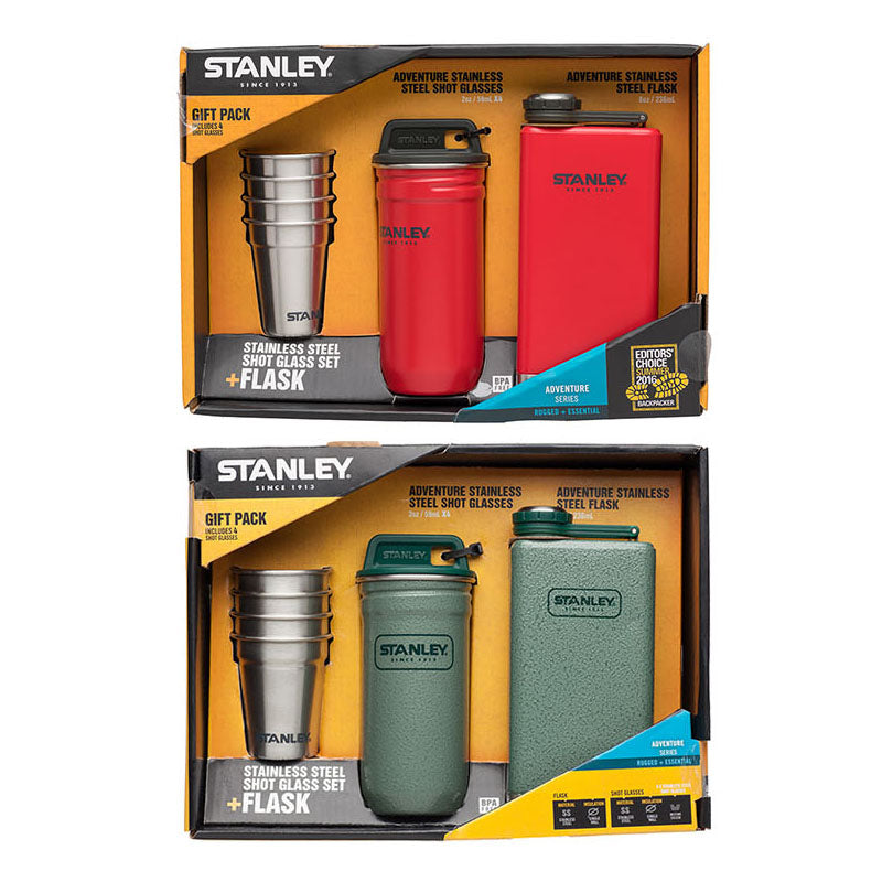 Adventure Stainless Steel Shot Glass Set + Flask Gift Pack