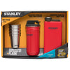 Stanley-Adventure Stainless Steel Shot Glass Set + Flask Gift Pack-Alcohol Flask-Flannel Red-Gearaholic.com.sg