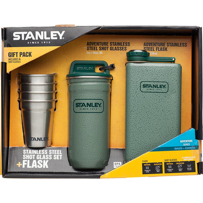 Stanley-Adventure Stainless Steel Shot Glass Set + Flask Gift Pack-Alcohol Flask-Hammertone Green-Gearaholic.com.sg