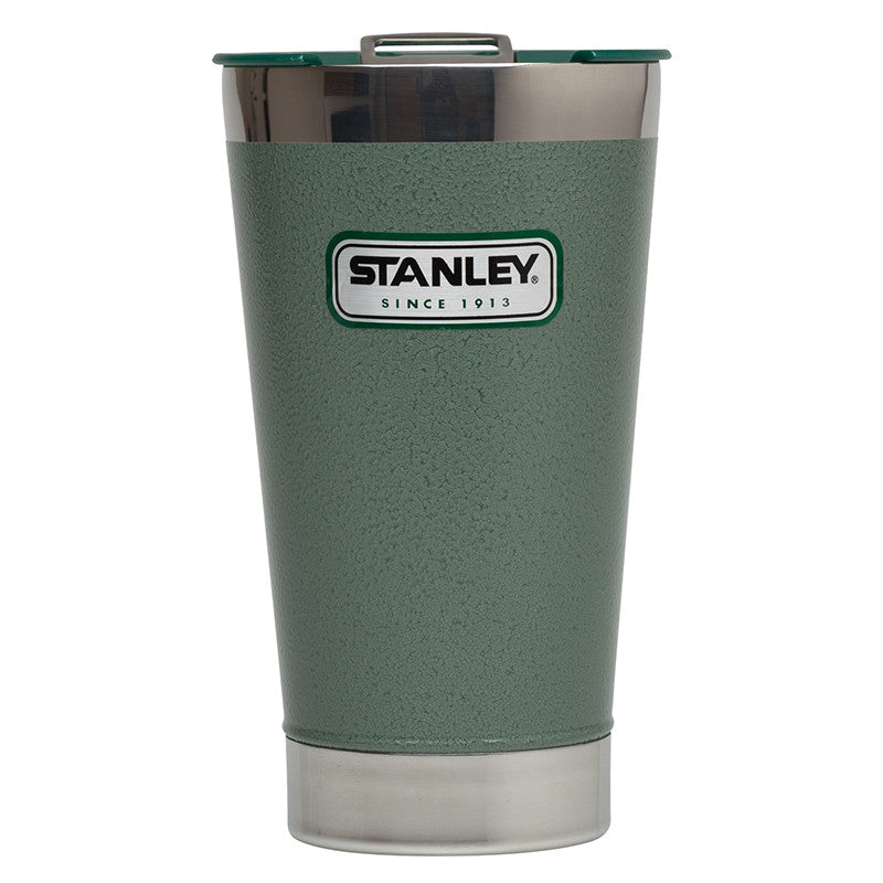 Stanley-Classic Vacuum Steel Pint 473ml-Alcohol Flask-Hammertone Green-Gearaholic.com.sg
