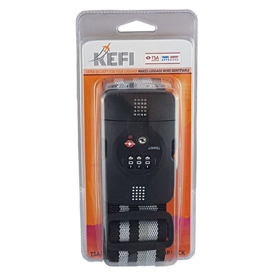 Kefi-Heavy Duty Luggage Strap with TSA Lock-Travel Accessory-Black-Gearaholic.com.sg