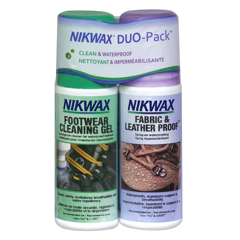 Shop for Nikwax at Fabric & Leather Proof Spray-On - 125ml / Footwear Cleaning Gel - 125ml Twin Pack at Gearaholic.com.sg