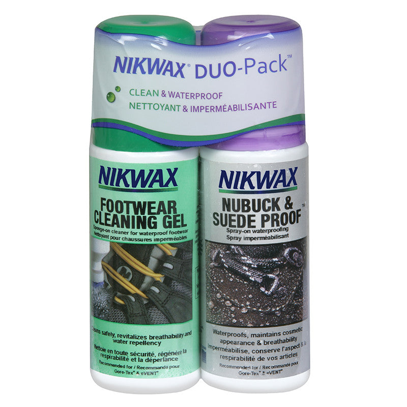 Shop for Nikwax at Nubuck & Suede Proof Spray-On - 125ml / Footwear Cleaning Gel - 125ml Twin Pack at Gearaholic.com.sg