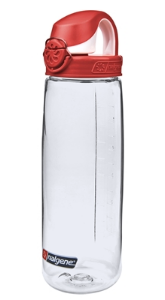 Nalgene-24Oz 709ml On The Fly (OTF) BPA-Free Water Bottle-Water Bottle-Clear with Red Cap-Gearaholic.com.sg