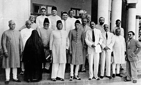 Muhammad Ali Jinnah, the founder of Pakistan, center, and Liaquat Ali Khan, its first prime minister, extreme left, both in churidars, at the All-India Muslim League Working Committee meeting in Lahore, March 1940