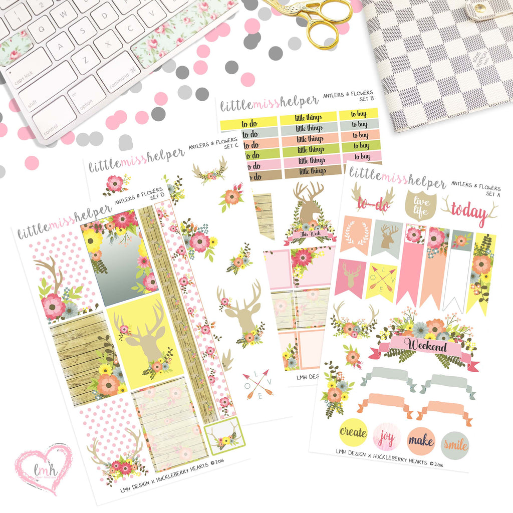 Antlers and Flowers | Planner Sticker Set of 4