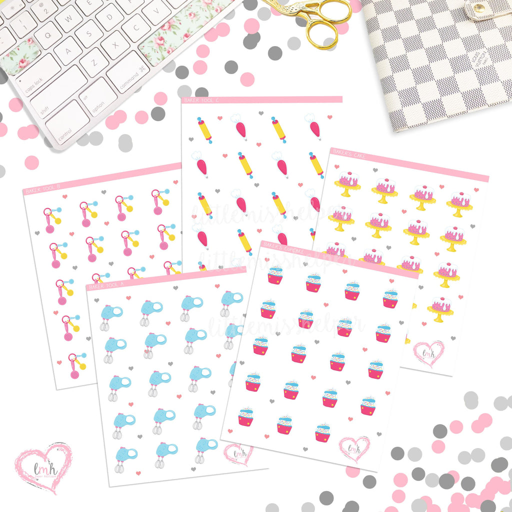 Baker Stickers | Planner Stickers | SMALL | Deco
