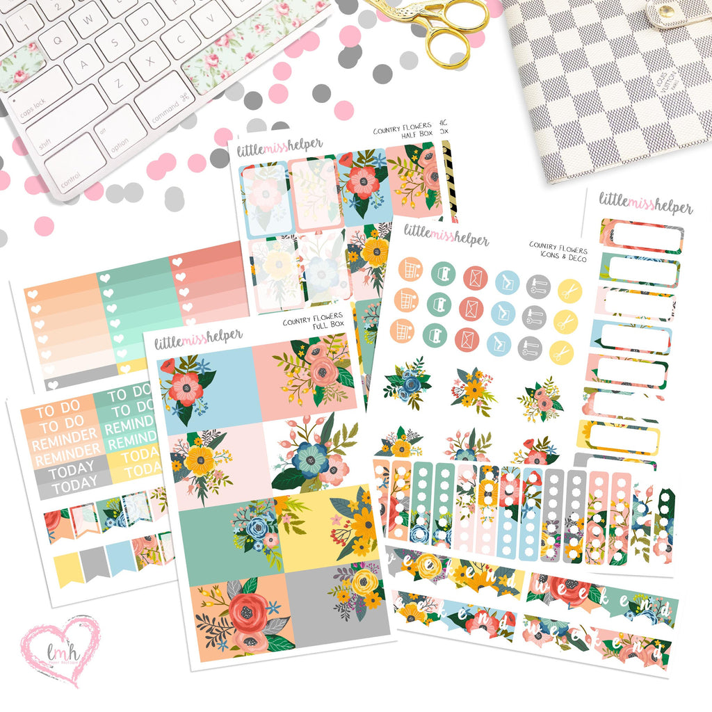 Country Flower | Planner Sticker Set of 6