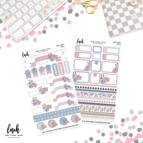 Cozy Vibes | Planner Sticker Set of 4 | Individual Sheets