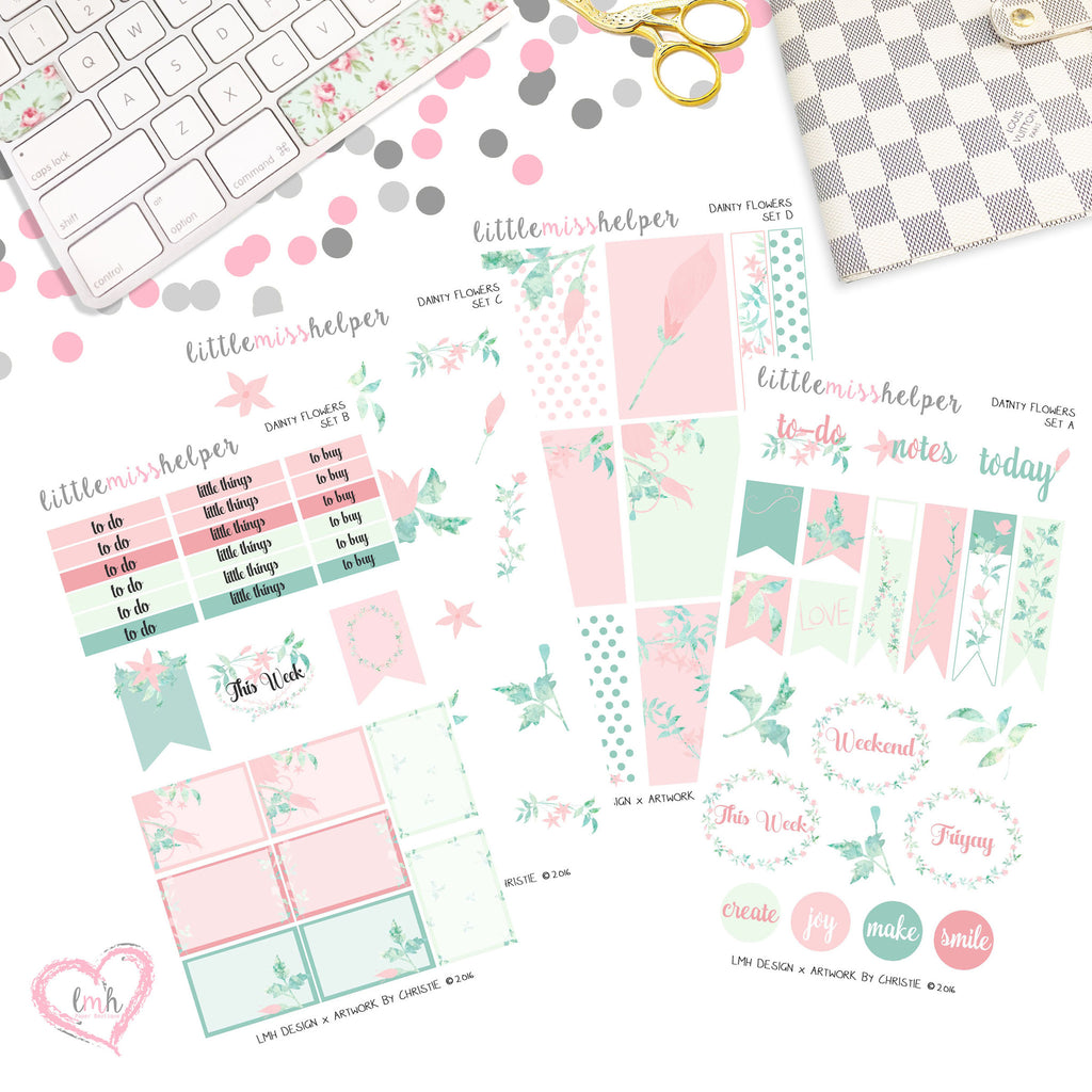 Dainty Flowers | Planner Sticker Set of 4
