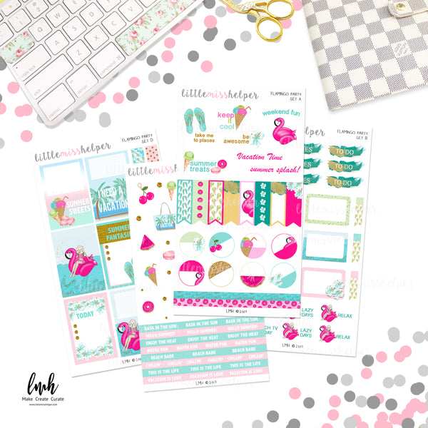 Flamingo Love | Planner Sticker Set of 4