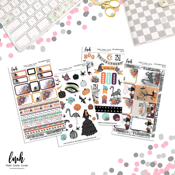 Halloween Witch | Planner Sticker Set of 4 | Individual Sheets