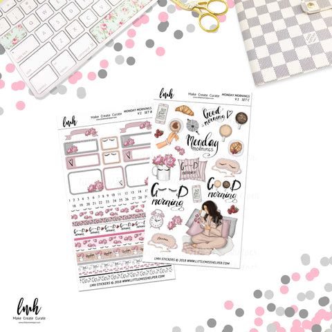 Monday Mornings V1 | Planner Sticker Set of 2 | Individual Sheets