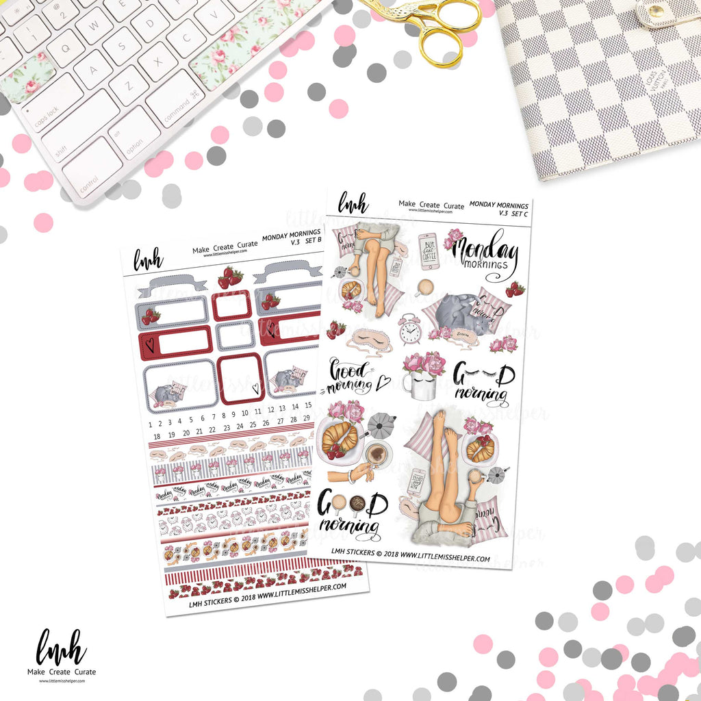 Monday Mornings V3 | Planner Sticker Set of 2