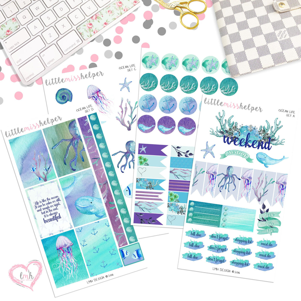 Ocean Life | Planner Sticker Set of 4