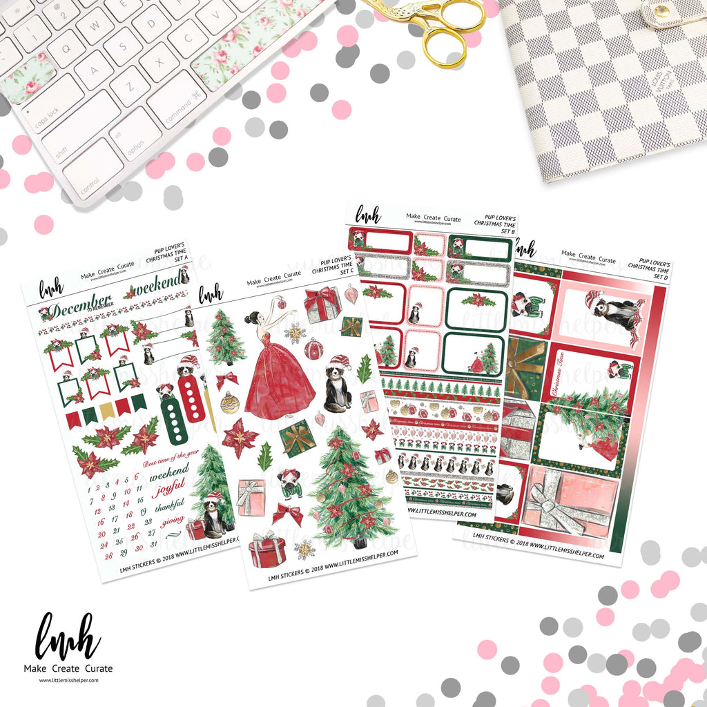 Pup Lover's Christmas Time | Planner Sticker Set of 4