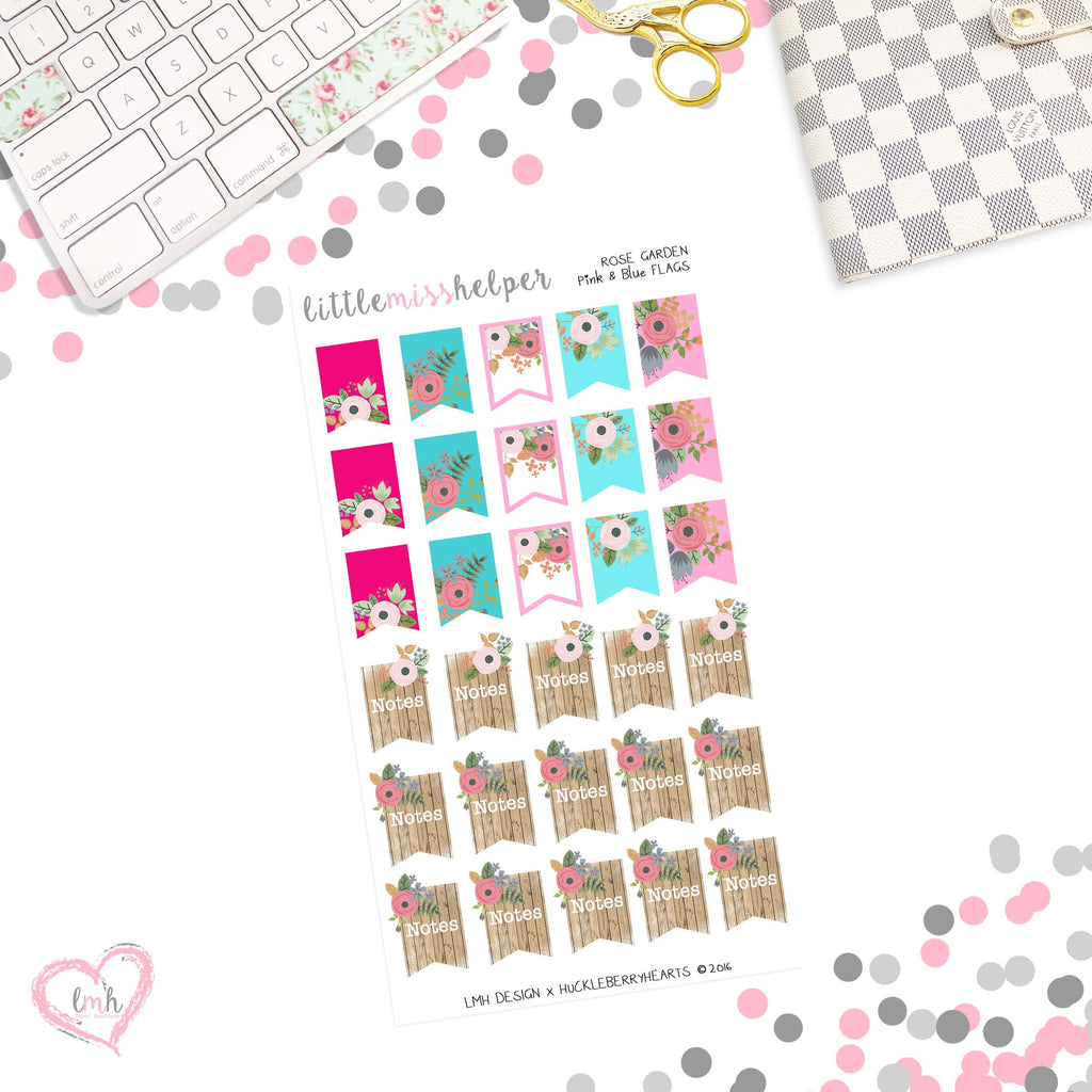 Shabby Rose Garden | Page Flag Planner Sticker