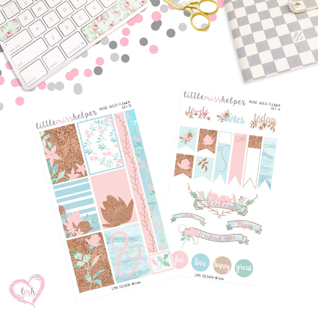 Rose Gold Flower | Planner Sticker Set of 2