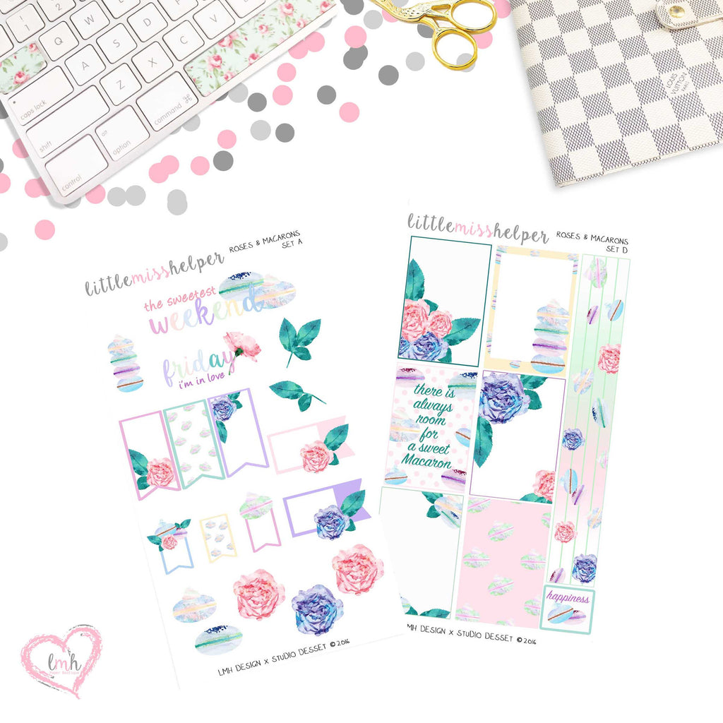 Roses and Macarons | Planner Sticker Set of 2