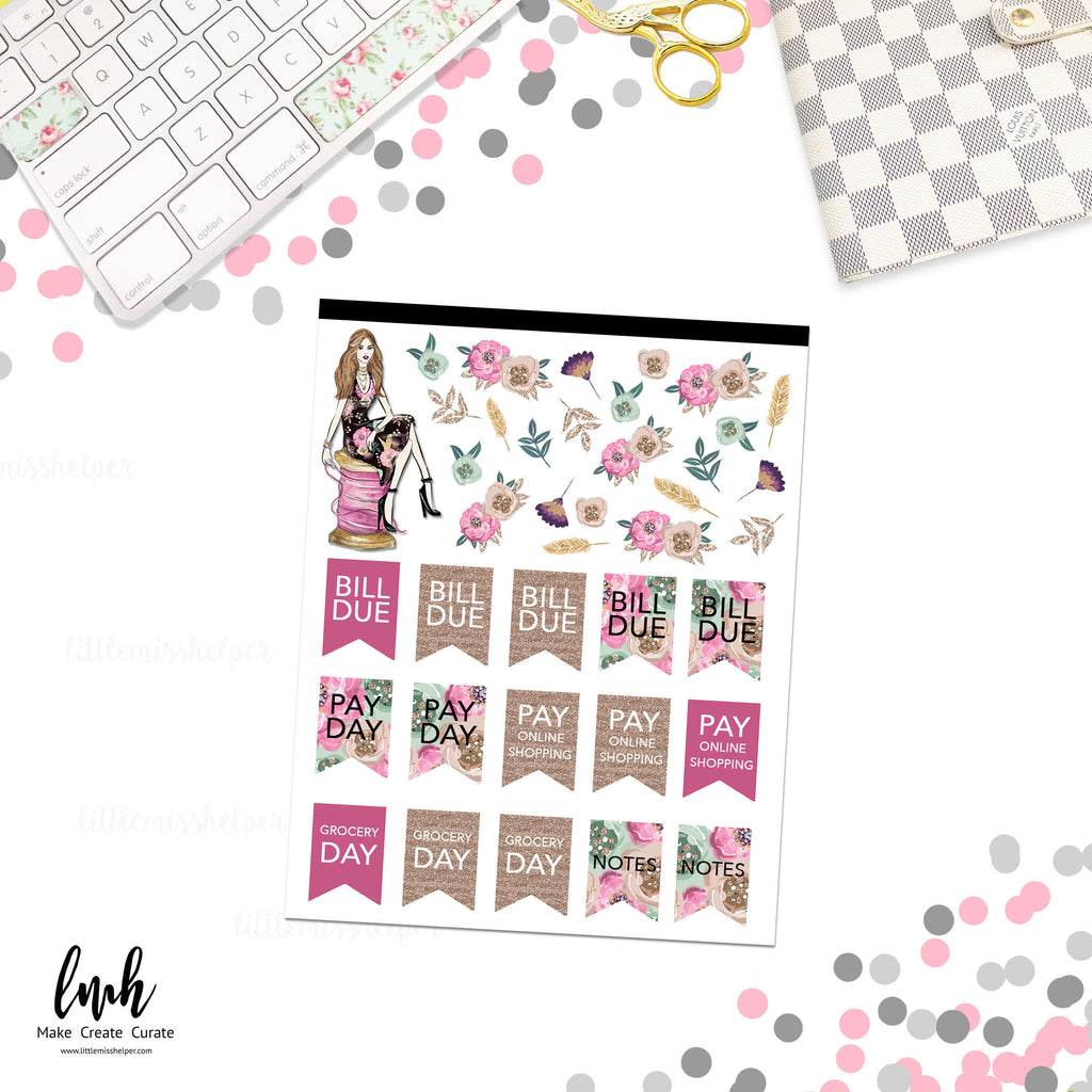 Sticker Squad 6 Flag Notes  | Planner Sticker