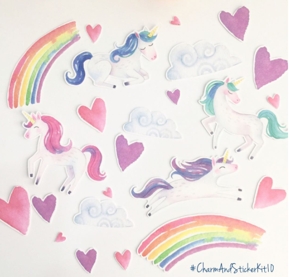 Charm and Sticker Kit 10 | Magical Unicorn