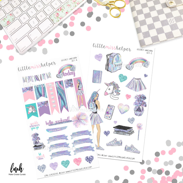 Secret Unicorn | Planner Sticker Set of 4