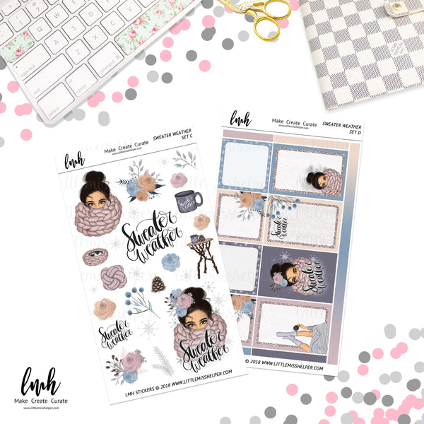 Sweater Weather | Planner Sticker Set of 4 | Individual Sheets