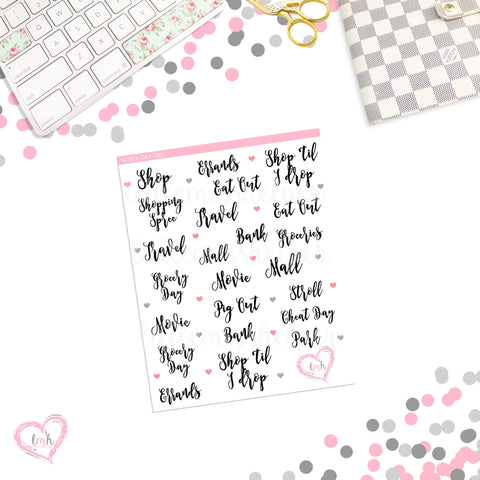 Word Sticker - DAY OUT | Planner Sticker | SMALL