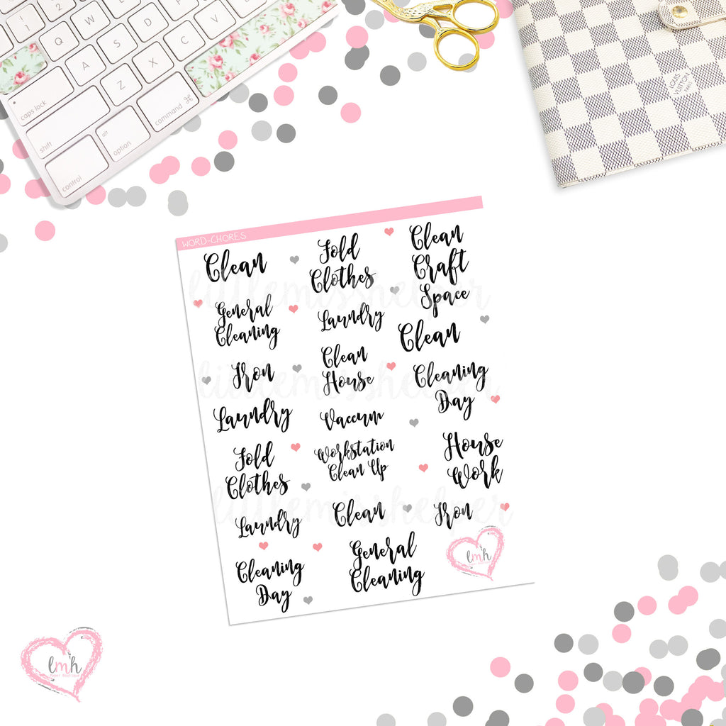 Word Sticker - CHORES | Planner Sticker | SMALL